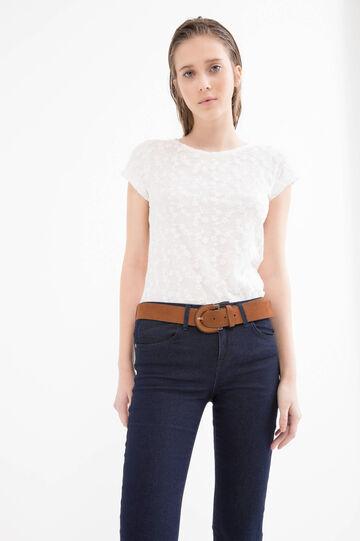 Viscose blend floral T-shirt, Milky White, hi-res