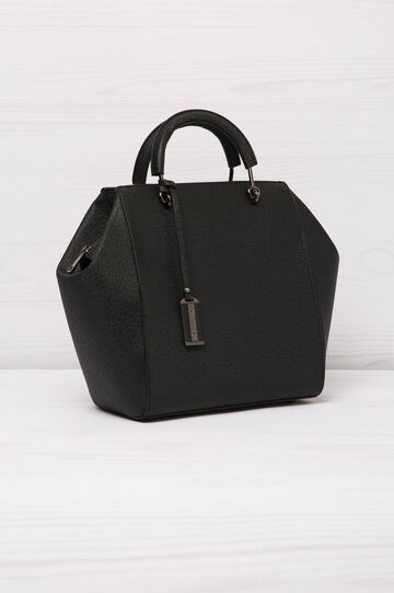 Borsa a mano in similpelle con zip, Nero, hi-res