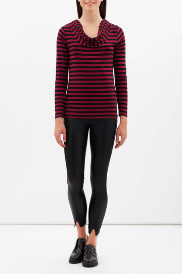 Smart Basic striped stretch T-shirt, Black/Red, hi-res