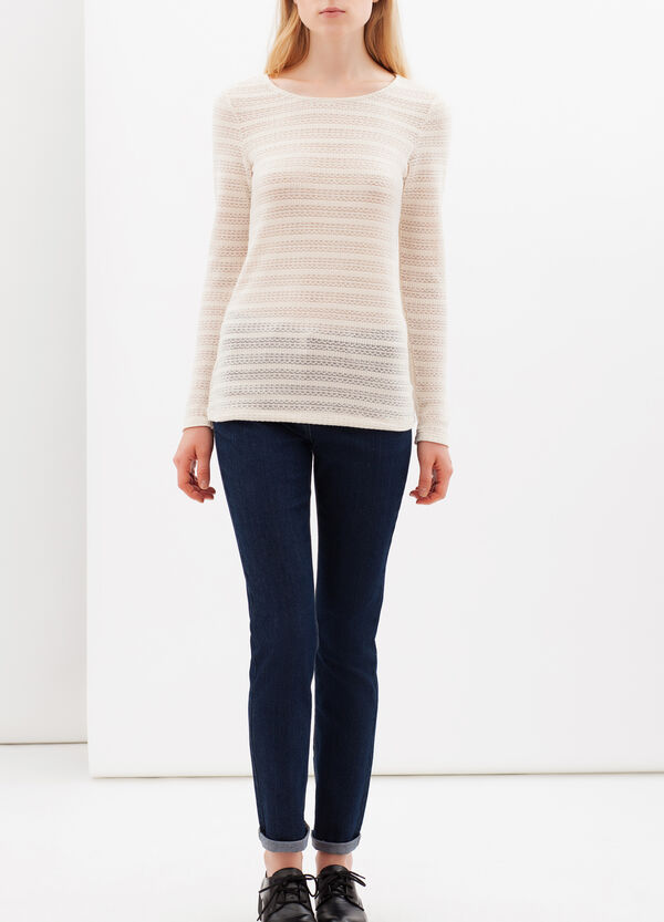 T-shirt with semi-sheer sections | OVS
