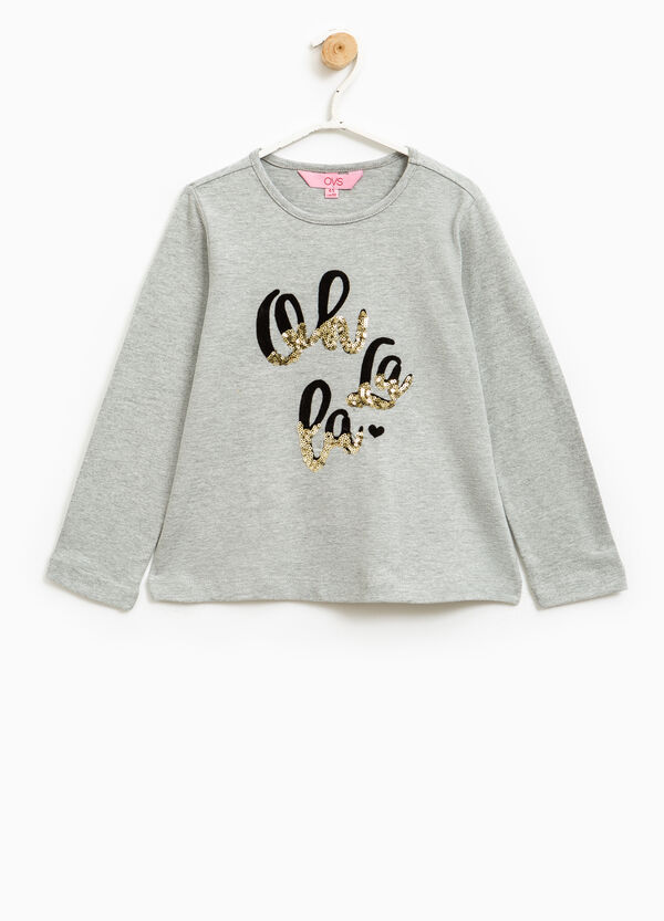 Stretch cotton T-shirt with sequins | OVS