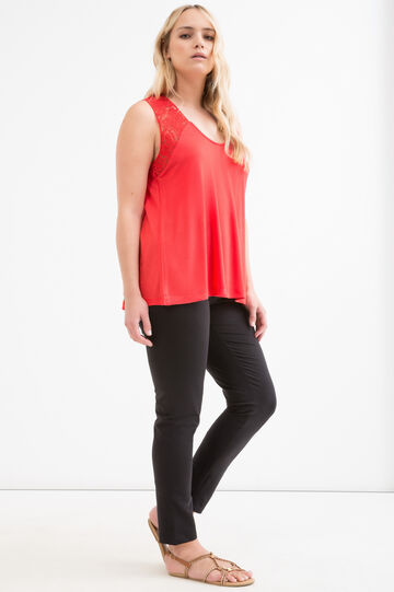 Curvy viscose and lace top, Red, hi-res