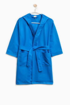 Bathrobe with belt and hood, Royal Blue, hi-res