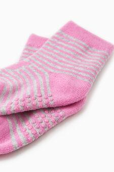 Set due paia calze antiscivolo stretch, Bianco/Rosa, hi-res