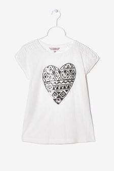 Heart sequinned T-shirt., White, hi-res