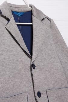 Stretch jacket with lapels, Grey Marl, hi-res