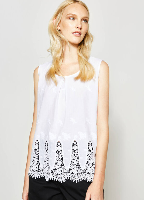 Viscose top with lace and embroidery | OVS
