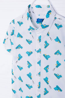 Patterned shirt in cotton, White/Light Blue, hi-res