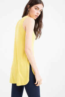 100% viscose top with slits, Mustard Yellow, hi-res