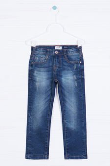 5-pocket jeans with worn effect, Dark Wash, hi-res