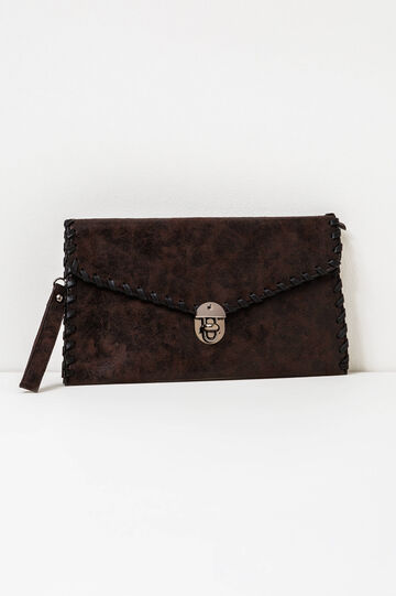 Solid colour clutch bag with wrist strap, Dark Brown, hi-res