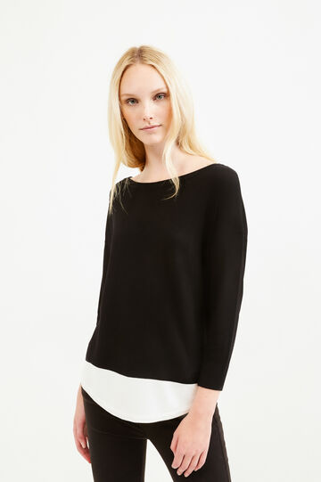 Viscose blend pullover with three-quarter sleeves, White/Black, hi-res
