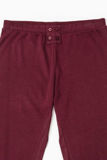 Solid colour cotton pyjama trousers, Aubergine, hi-res
