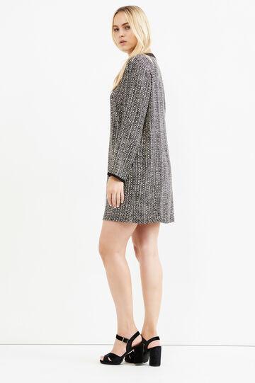 Curvy viscose dress with all-over print, Black, hi-res