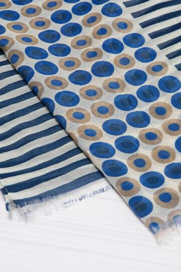 Sciarpa sfrangiata stampa cerchi, Bianco/Blu, hi-res