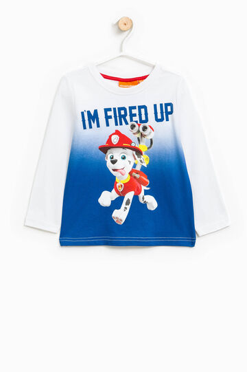 Degradé cotton T-shirt with Paw Patrol print, White/Blue, hi-res