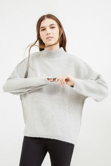 High-neck stretch pullover in wool, Grey, hi-res