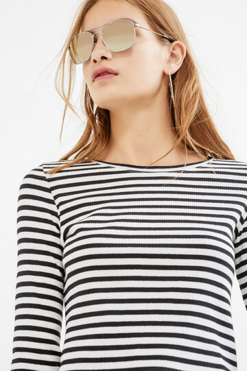 Stretch viscose T-shirt with striped pattern, Milky White, hi-res