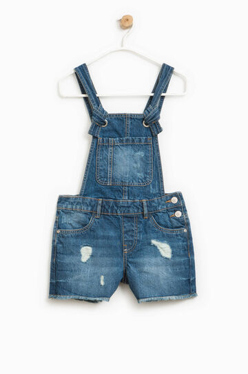Worn-effect denim dungarees, Denim, hi-res