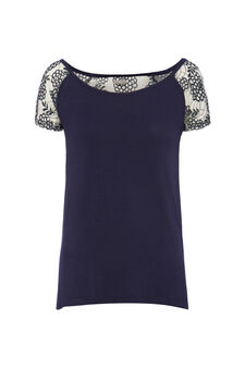 Smart Basic T-shirt with lace, Blue/Grey, hi-res