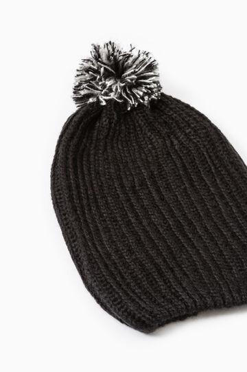 Knit beanie cap with pompoms, Black, hi-res
