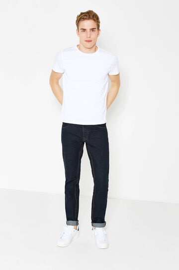 Slim fit jeans with stitching in contrasting colour, Dark Wash, hi-res