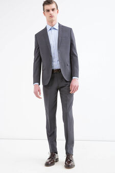 Slim-fit, elegant patterned suit, Grey, hi-res