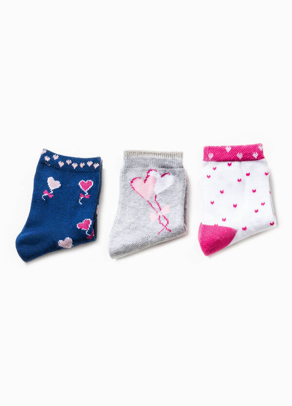 Three-pack socks with embroidery and heart pattern | OVS