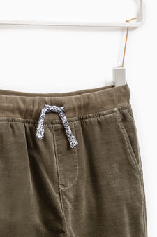 Ribbed trousers in 100% cotton, Moss Green, hi-res