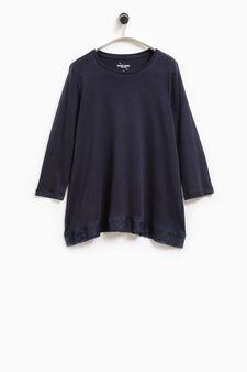 Smart Basic cotton T-shirt with lace, Blue, hi-res