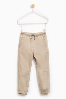 Ribbed trousers in 100% cotton, Beige, hi-res