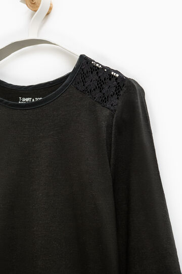 Smart Basic T-shirt with lace, Black, hi-res