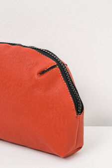 Solid colour clutch with zip, Orange, hi-res