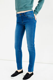 Washed and faded effect skinny fit stretch jeans, Medium Wash, hi-res