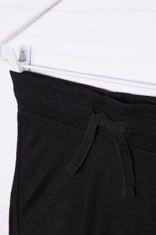 Viscose blend shorts with drawstring, Black, hi-res