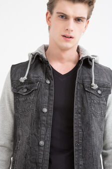 Denim jacket with plush sleeves, Black, hi-res