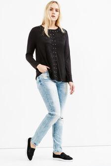 Jeans stretch effetto used Curvy, Lavaggio chiaro, hi-res