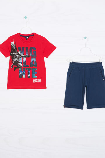 Printed outfit in 100% cotton, Blue/Red, hi-res