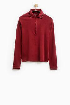 Smart Basic solid colour cotton polo shirt, Claret Red, hi-res
