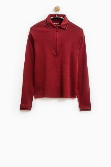 Smart Basic solid colour cotton polo shirt, Claret Red, hi-res