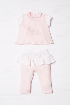 Biocotton T-shirt and trousers outfit, White/Pink, hi-res