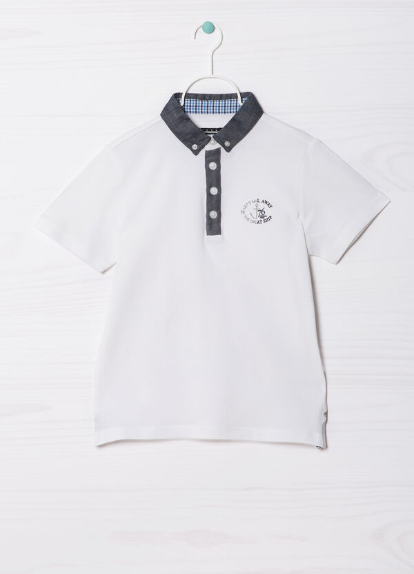 100% cotton polo shirt with button down collar | OVS