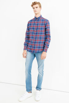 Casual check shirt with button-down collar, Blue/Red, hi-res