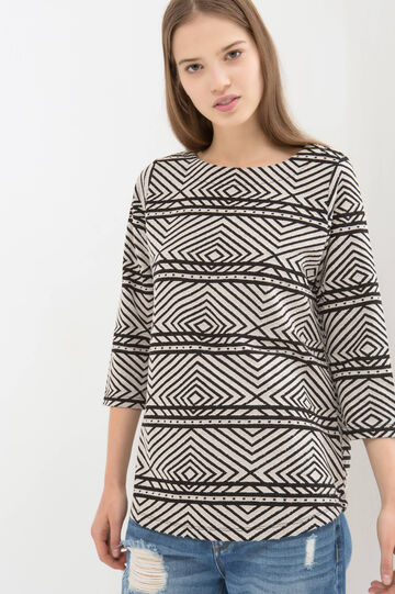 T-shirt misto cotone fantasia contrasto, Nero/Bianco, hi-res