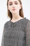 Geometric patterned blouse, Black/White, hi-res