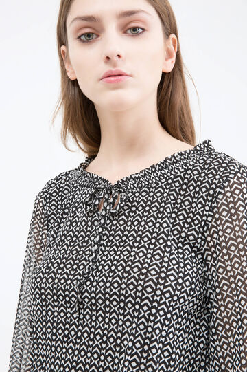 Geometric patterned blouse, Black/White, hi-res