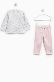 Stretch outfit with small hearts, Grey/Pink, hi-res