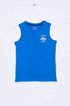 Solid colour 100% cotton vest, Electric Blue, hi-res