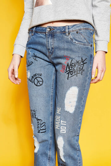Girlfriend-fit printed crop jeans