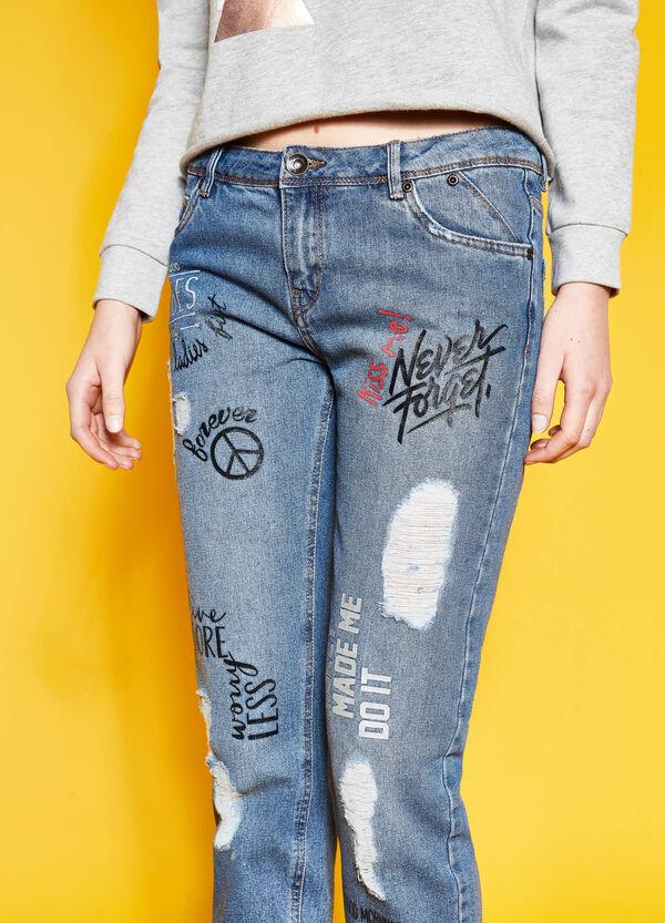 Jeans crop girlfriend fit stampati | OVS